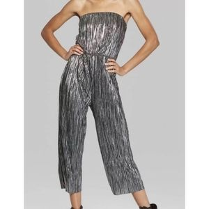 NEW WILD FABLE SILVER STRAPLESS PLEATED JUMPSUIT